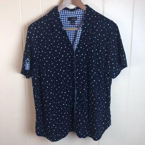 3/$27 Erika Navy Blue Button Down w/ Stars